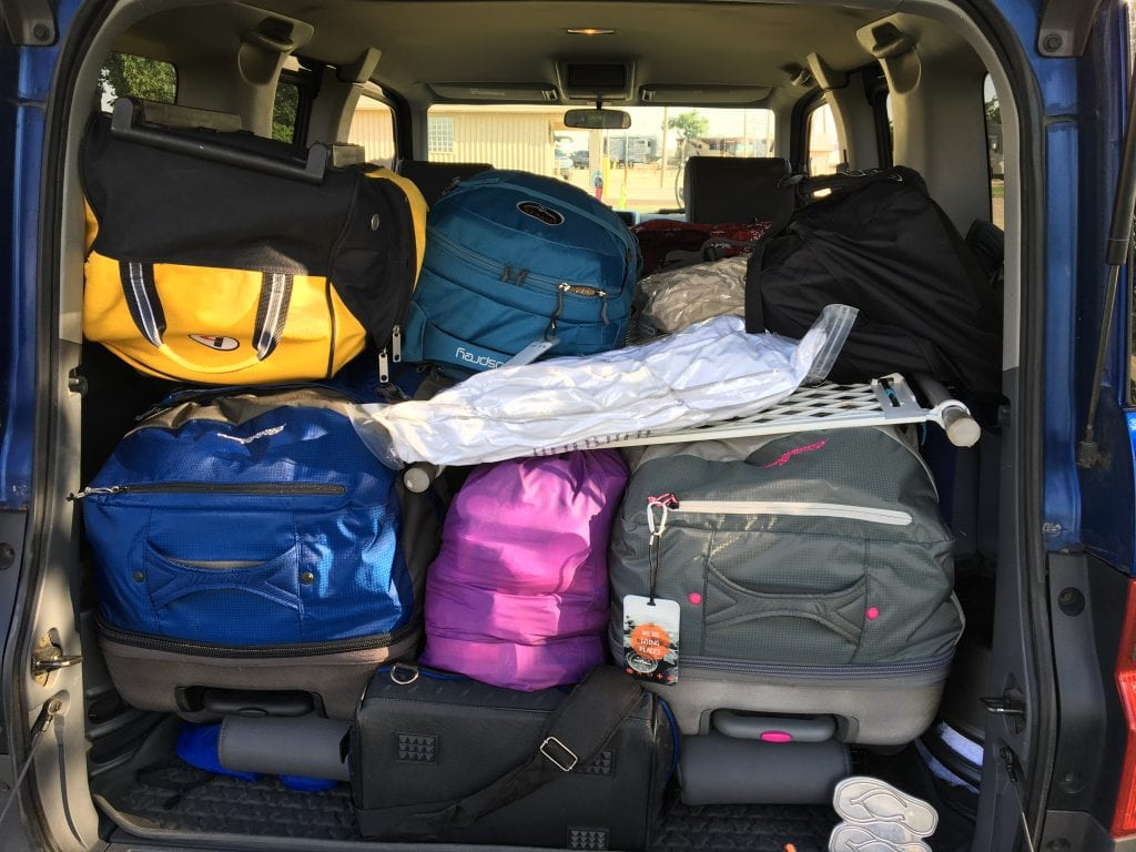 Honda Element filled with luggage