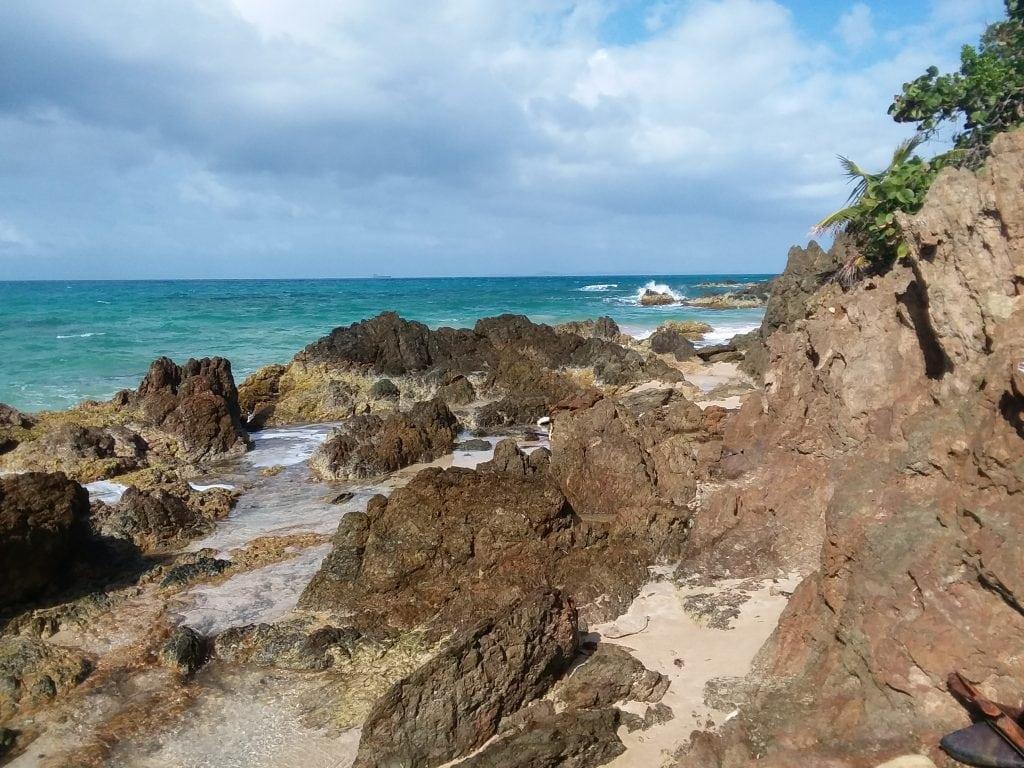 Beach rocks and water