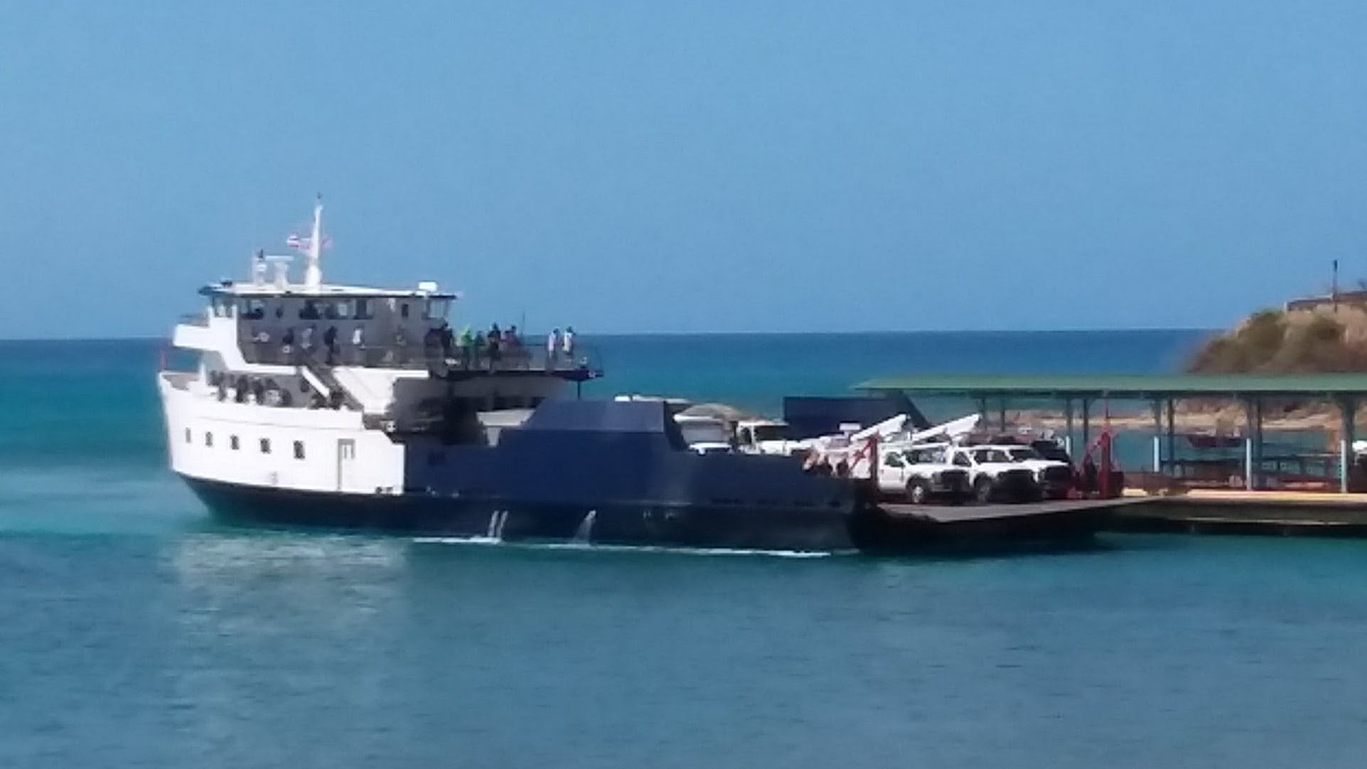 Ferry boat docking in Vieques