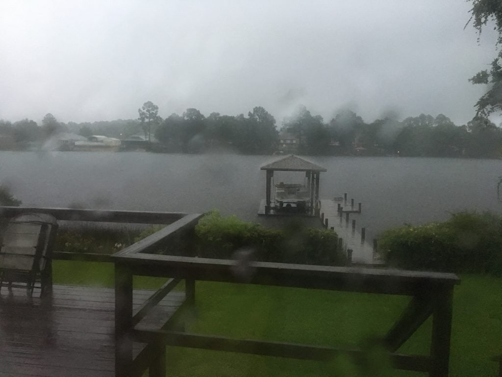 Intense rain over the bayou and dock