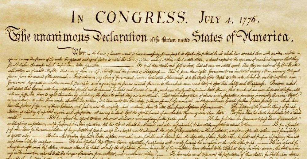 "U.S. Declaration of Independence - ""When in the course of human events..."""