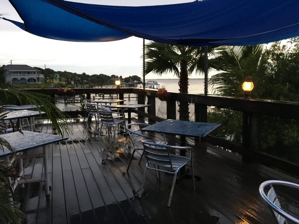 Waterfront deck in the rain