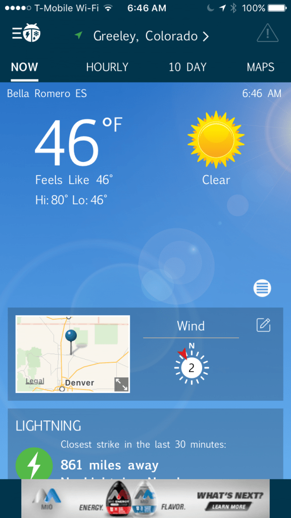 Screen capture of weather app, showing 46 degrees Fahrenheit.