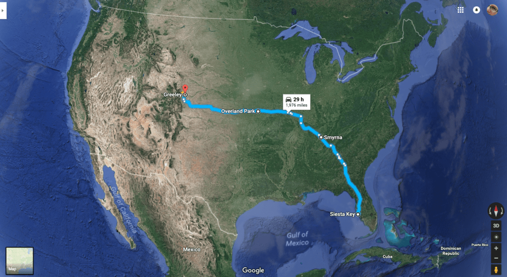 Map of the USA, showing our route from Florida to Colorado
