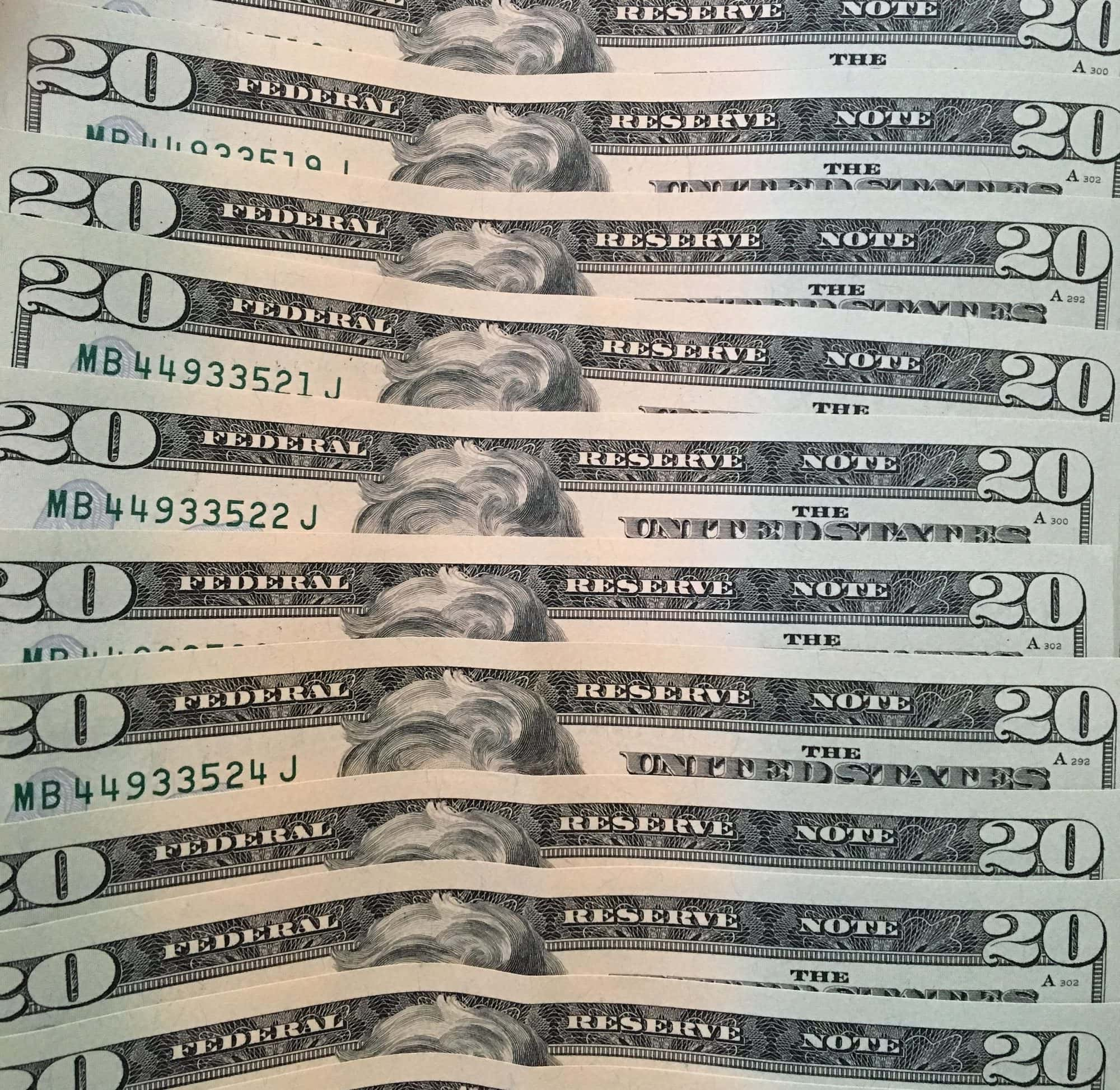 Stack of $20 bills
