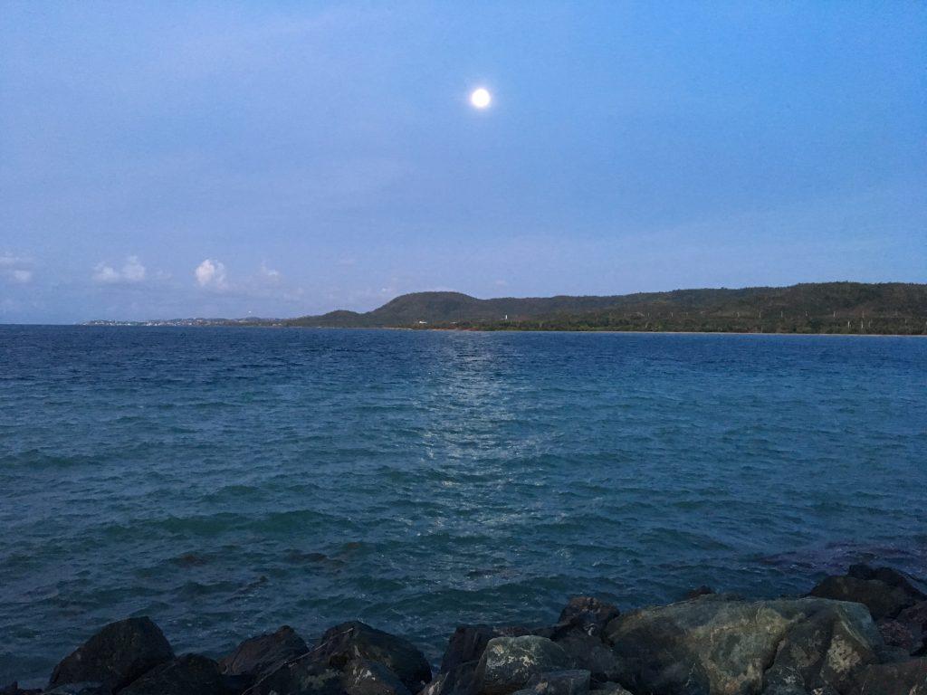 Moon over the island