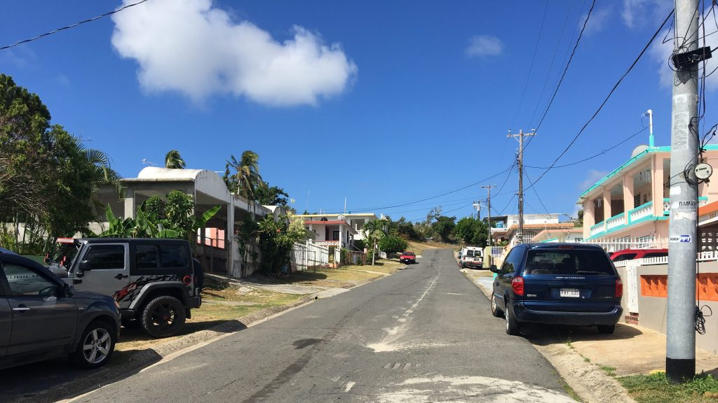 Our street looking uphill