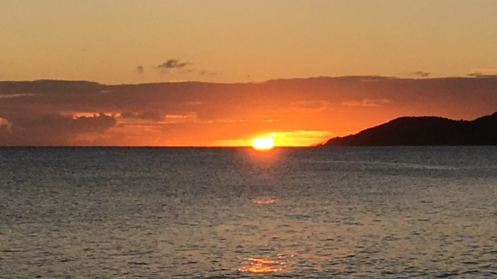 Sunset over the water in Esperanza, Vieques, Puerto Rico