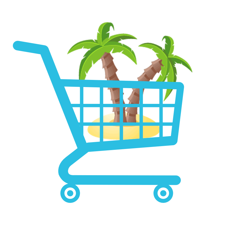 Graphic of Island and Palm Trees inside a shopping cart