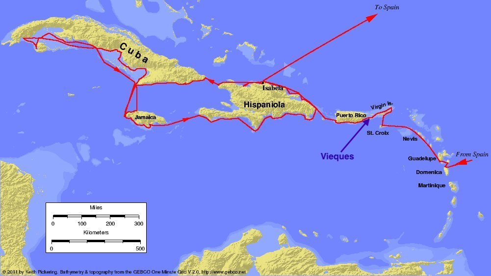 Map of Columbus' 2nd Journey, showing the path by Vieques
