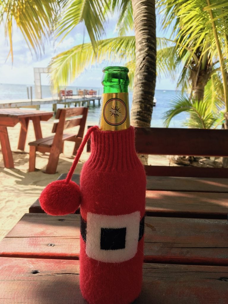 Beer bottle with Santa Claus coozie