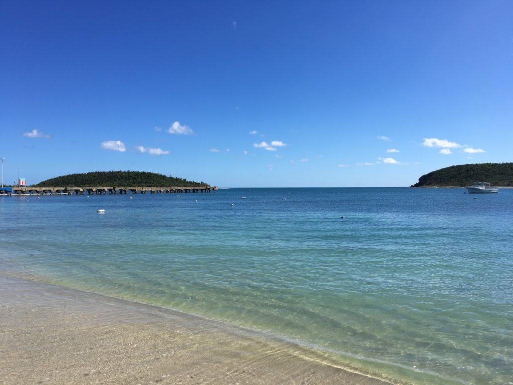 Beach, pier, boats, islands