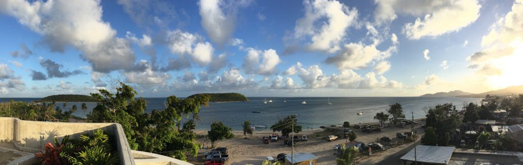 Rooftop view overlooking the Esperanza harbor in Vieques