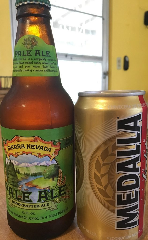 Sierra Nevada Pale Ale in 12 oz. bottle and Medalla Light in 10 oz. can