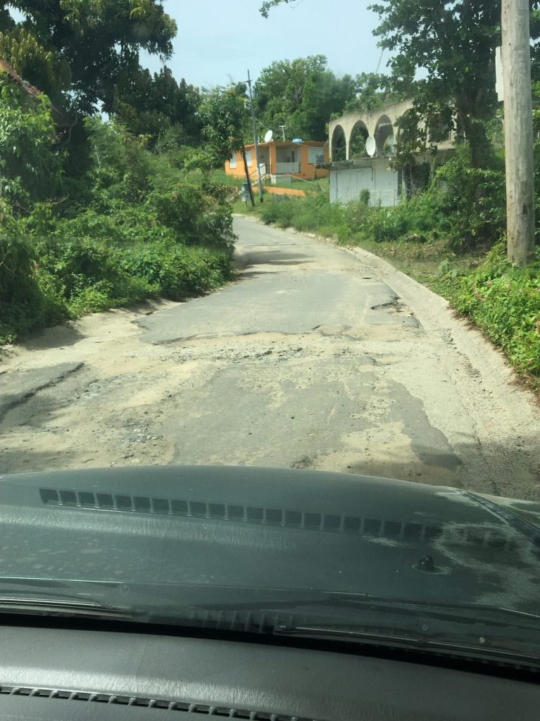 Potholes in road