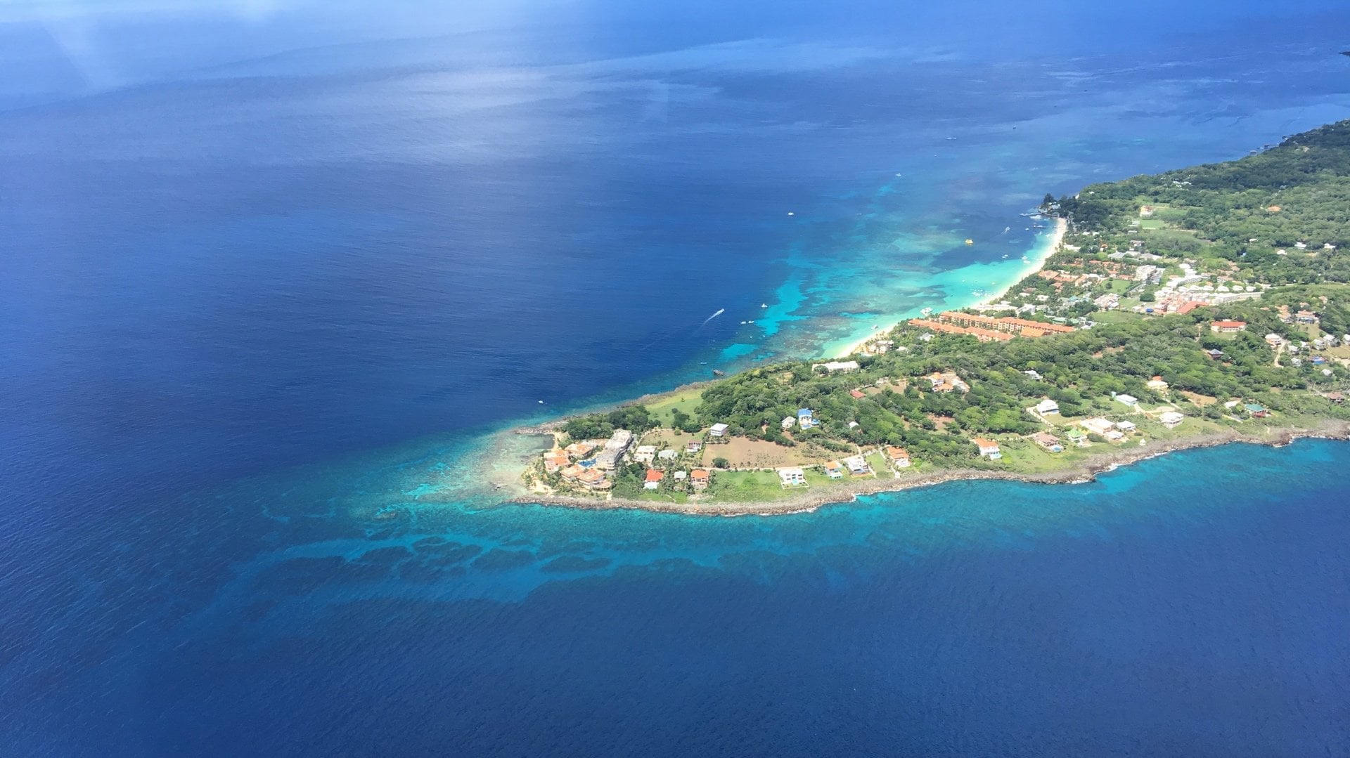 Arial shot of the island tip