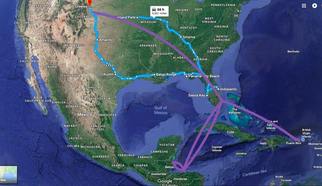 Map of our travels in the U.S. and Caribbean