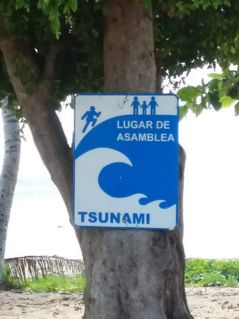 Place of assembly for a tsunami